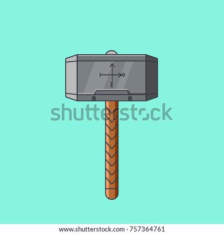 thor hammer mjolnir flat color