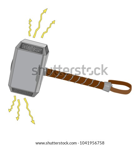 thor hammer  vector  isolated