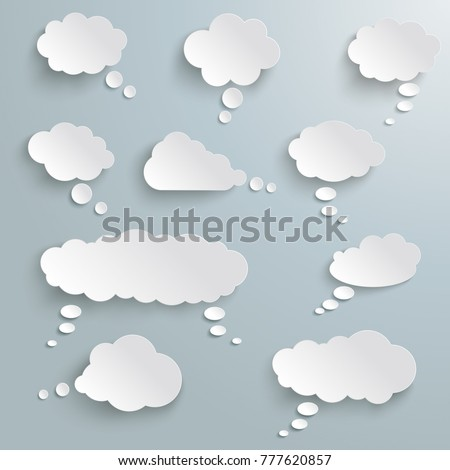 thought bubbles on the gray