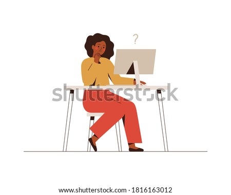 Thoughtful African businesswoman works at the computer and thinks or solves the problem. Black woman goes over online survey or questionnaire on the internet. Vector illustration isolated on white.