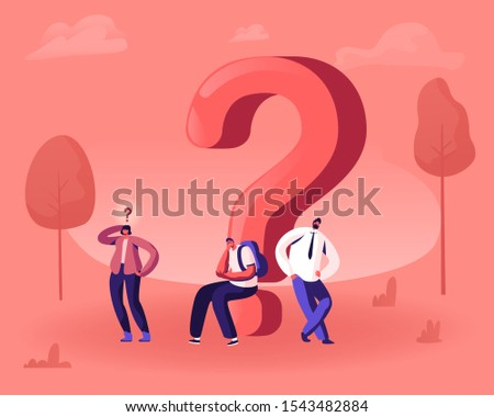 Thoughtful and Doubtful Little Male and Female Characters Thinking Under Huge Question Mark. Doubts and Confusion Concept. People Solving Problem Searching Solution. Cartoon Flat Vector Illustration