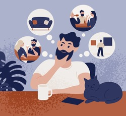 Thoughtful bearded man sitting at table and thinking of leisure or recreational activities to choose. Cute pensive guy and his pastime choice. Colorful vector illustration in flat cartoon style.