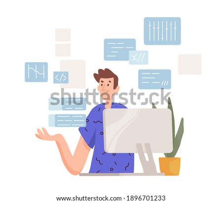 Thoughtful man working at computer. Programmer coding and concerning about solving difficult tasks. Puzzled male character. Colored flat vector illustration isolated on white background
