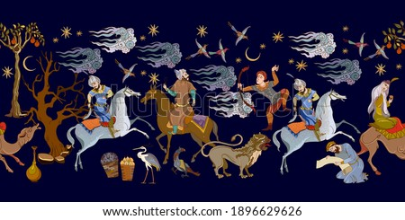 Thousand and One Nights art. Ancient civilization murals. Middle East. Fairy tales and legends. Seamless patern. Persian frescoes. Medieval miniature. Mughal art. Ottoman Empire book miniature