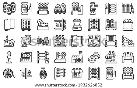 Thread production icons set. Outline set of thread production vector icons for web design isolated on white background