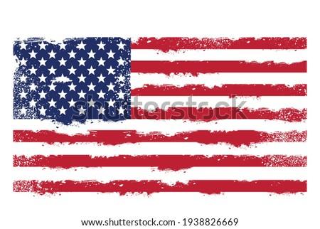Threadbare flag of United States of America, usa grunge symbol, vector