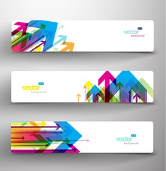 Three abstract colorful arrows background banners.