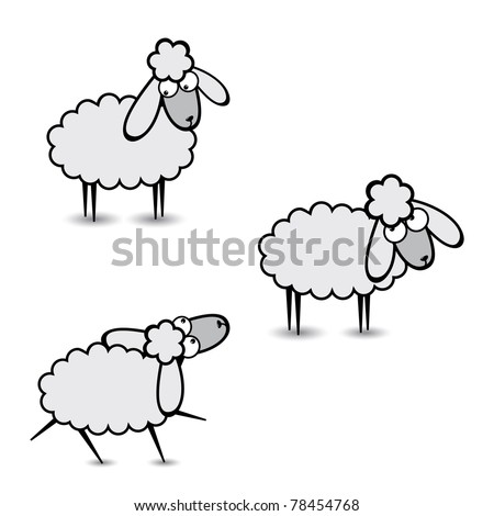 Three abstract Gray sheep. Part Two. Illustration on white background
