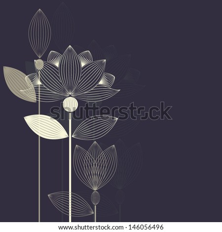 three abstract lotus flower on