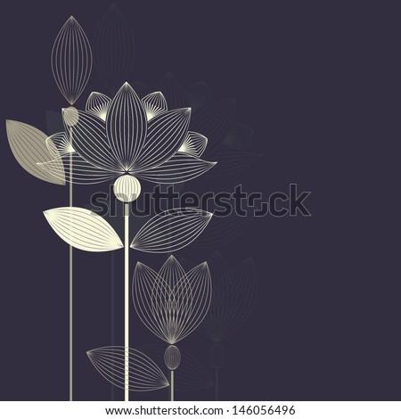 three abstract lotus flower on