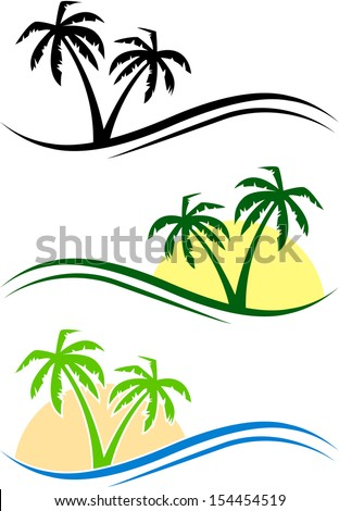 three abstract palms with waves
