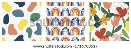 three abstract seamless