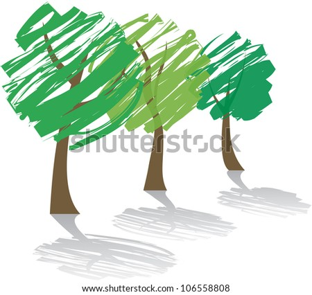 three abstract trees with shadow