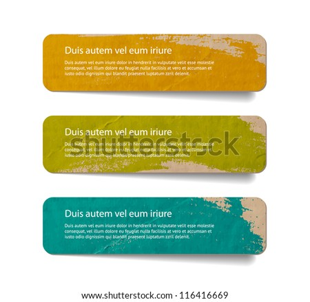 Three abstract vintage old paper banners / stickers / badges with hand painted brush strokes background