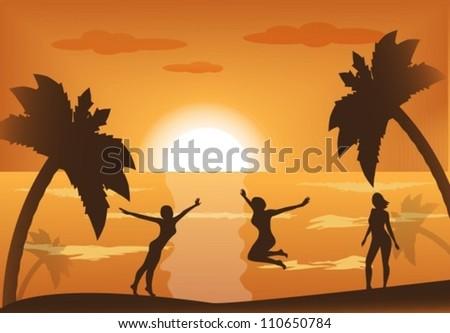 three active female silhouette