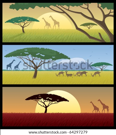 Three African landscapes. Good for using as banners.