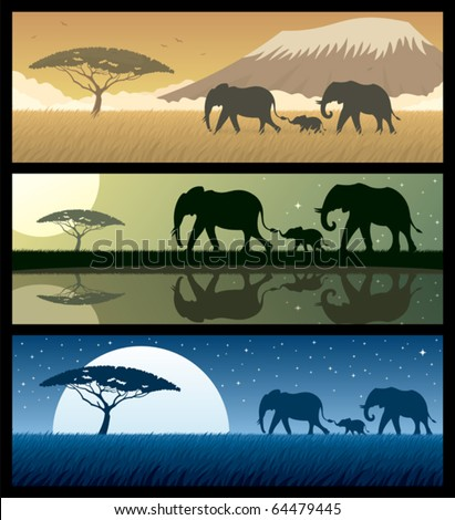 three african landscapes with