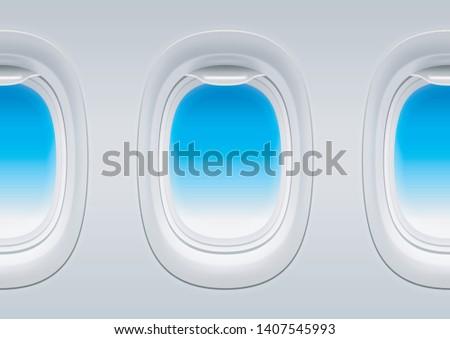 three airplane windows