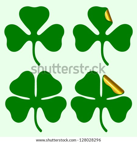 Three and four leaf clover silhouette, plus sticker with curled corner Vector illustration