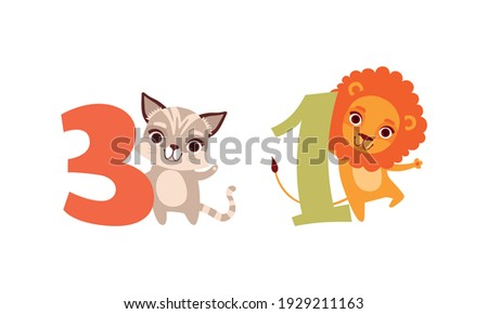 Three and One Numbers with Cute Leo and Kitten, Birthday Anniversary Numeralss with Funny Animals Cartoon Vector Illustration Stock photo ©