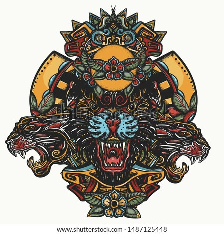 Three angry black panthers. Mayan color tattoo. Mesoamerican mexican art. Wild cats queens in jungle. Esoteric totem