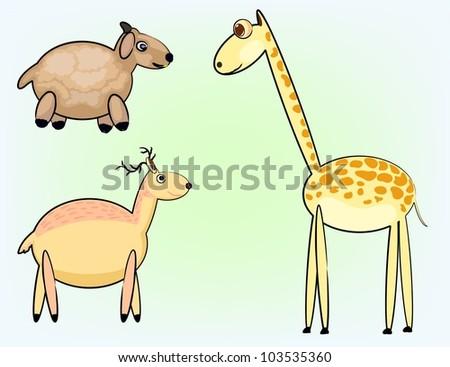three animals in cute round shape