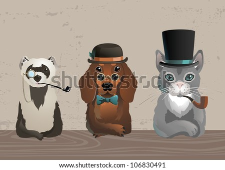 three animals in old style