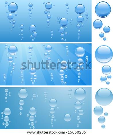 three aquariums with bubbles