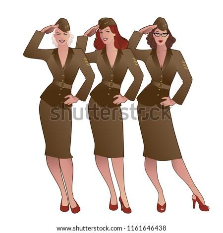 three army girls in retro style