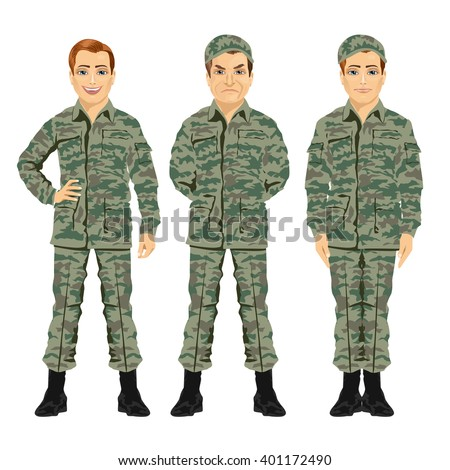 three army soldiers posing