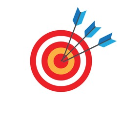 Three arrows hitting the center of target , Business concept
