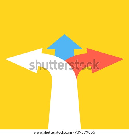 Three arrows pointing in different directions. Choice the way concept. Vector illustration.
