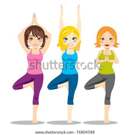 Three attractive women exercising yoga tree asana posture standing on one leg