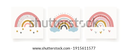 Three baby cute rainbow graphic illustration. Art rainbow color brush stroke. Baby design for birthday invitation or baby shower, poster, clothing, nursery wall art and postcard.