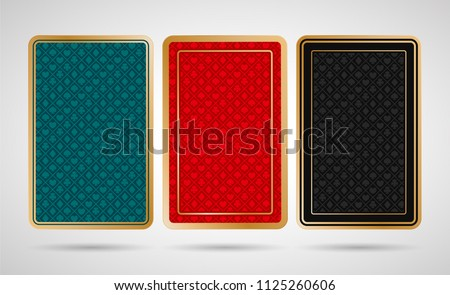Three back side design of playing cards on white background