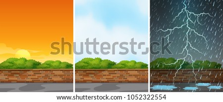three background scenes at