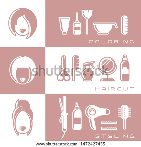 Three banners concept with hairdressing tools and female heads. Flat style vector illustration. Coloring, haircut and styling banner