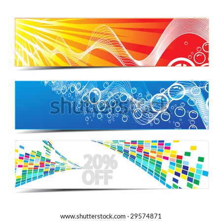 three banners on different themes, multi-colored