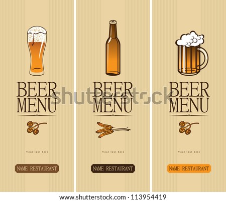 three banners on the theme of the beer with a glass and a bottle