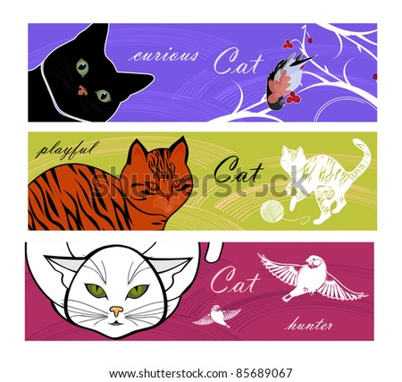 three banners with cats   for