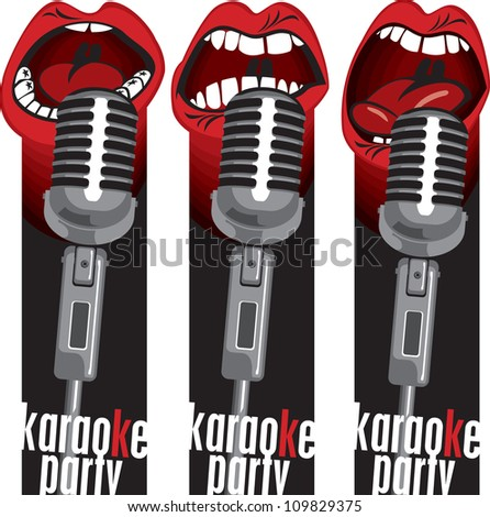 three banners with singing into a microphone mouths