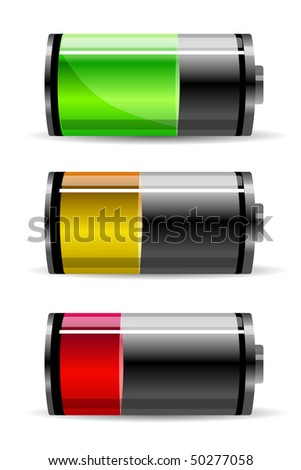 Three batteries - stock vector