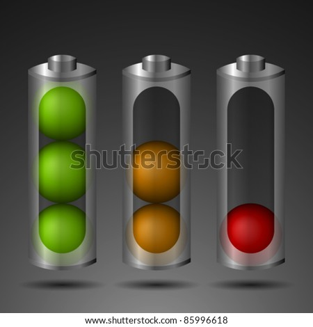 Three batteries with different energy level