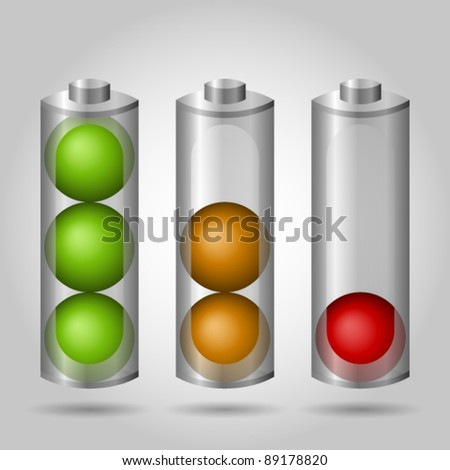 Three batteries with different level of energy