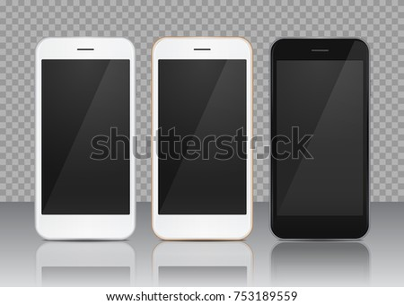 Three beautiful colored mobile template: white, gold and black, isolated on transparent reflected background. Vector quality  phone 8 illustration with empty screen for any application desing.