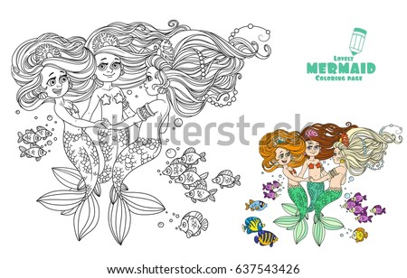 Three Beautiful Mermaid Girls Swirl In Dance Surrounded By Fish Coloring Page On A White Background