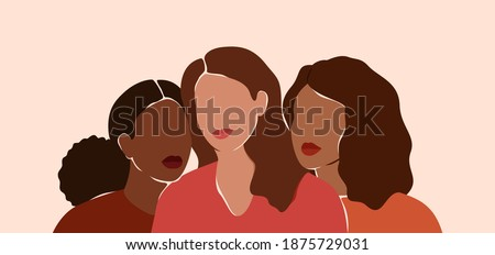 Three beautiful women with different skin colors together. African, latin and caucasian girls stand side by side. Sisterhood and females friendship.  Vector illustration for International Women's day Photo stock ©