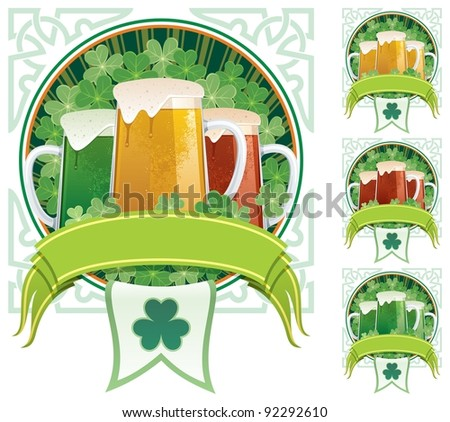 Three beer mugs on clover background with copy space under them. 3 additional versions are included on the right. No transparency used. Basic (linear) gradients.