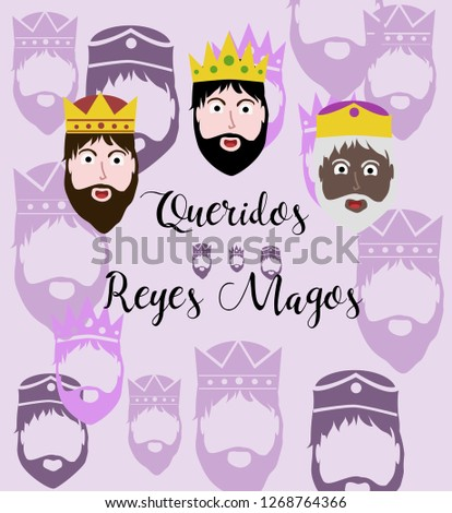 Three biblical Kings: Caspar, Melchior and Balthazar. Three wise men,faces of the three wise men Vector. illustration. - Vector