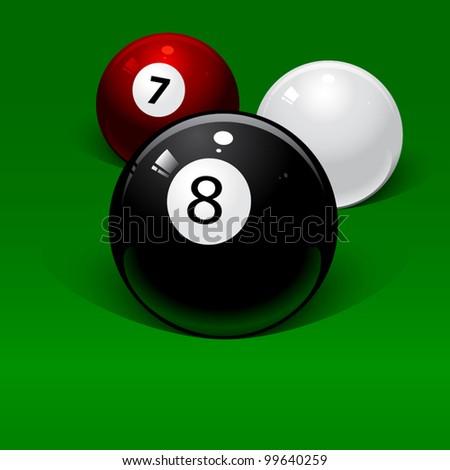 three billiard balls on a green background - stock vector